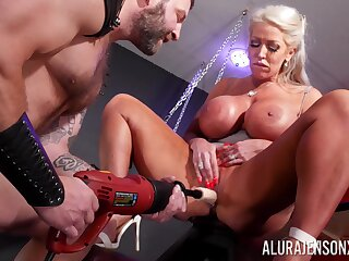 Mature pornstar Alura Jenson with massive fake breasts having sex